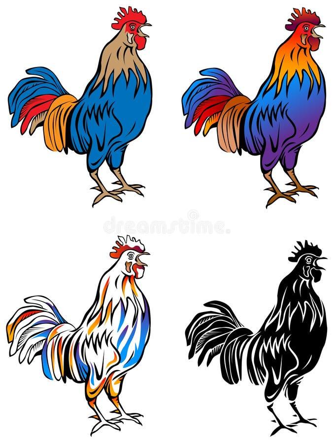 Insieme del disegno del gallo illustrazione vettoriale