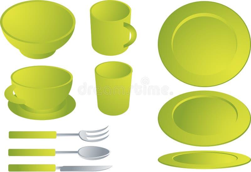 Insieme del Dishware illustrazione vettoriale