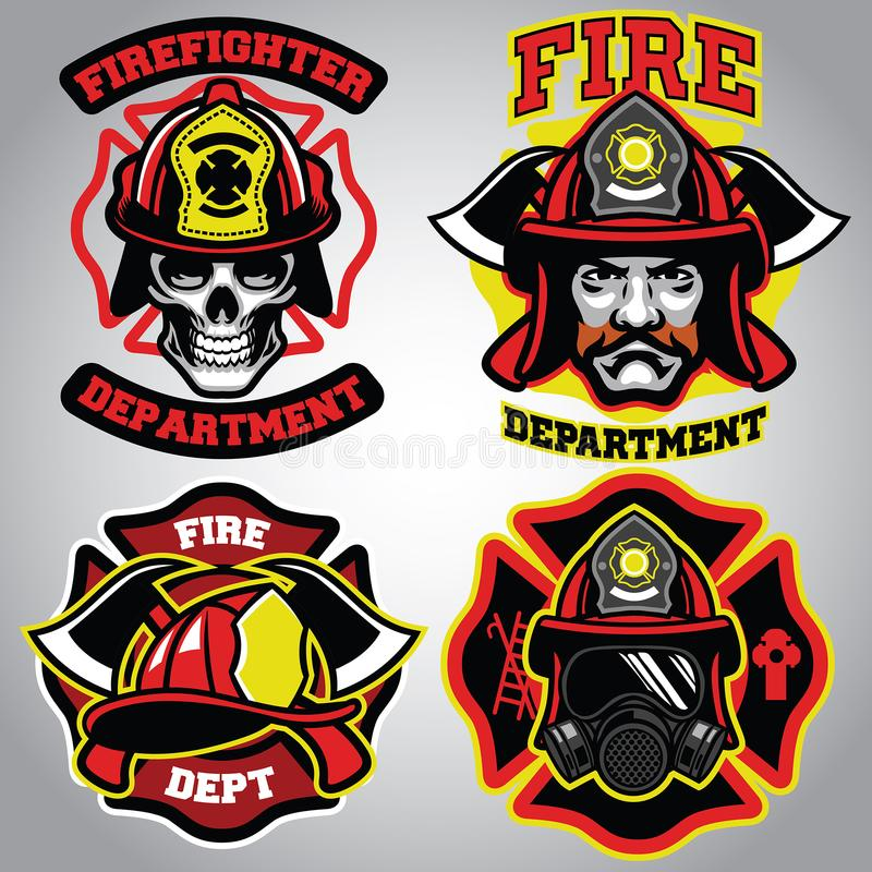 Insieme del distintivo del pompiere royalty illustrazione gratis