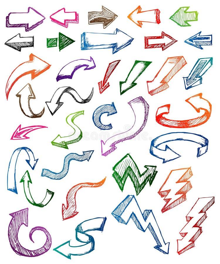 Insieme del Doodle della freccia illustrazione di stock