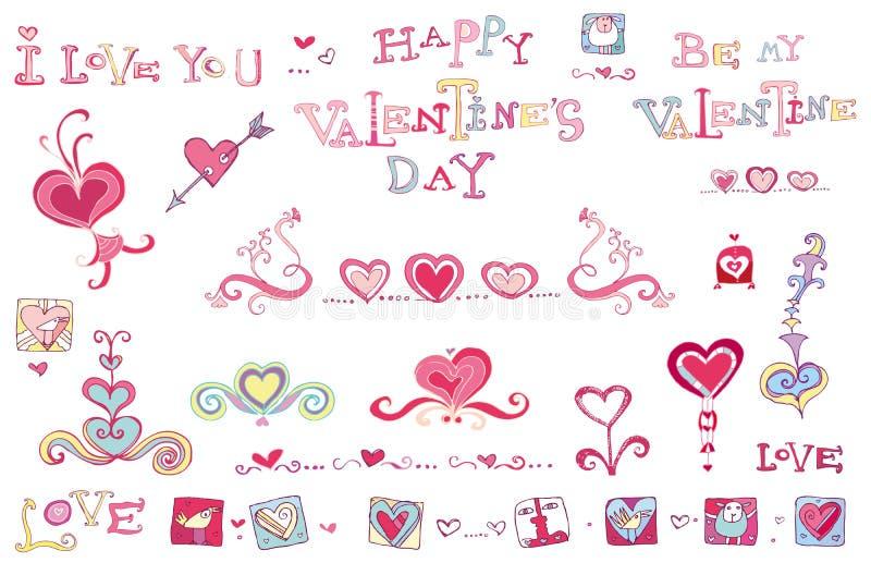 Insieme del ele di disegno del biglietto di S. Valentino royalty illustrazione gratis
