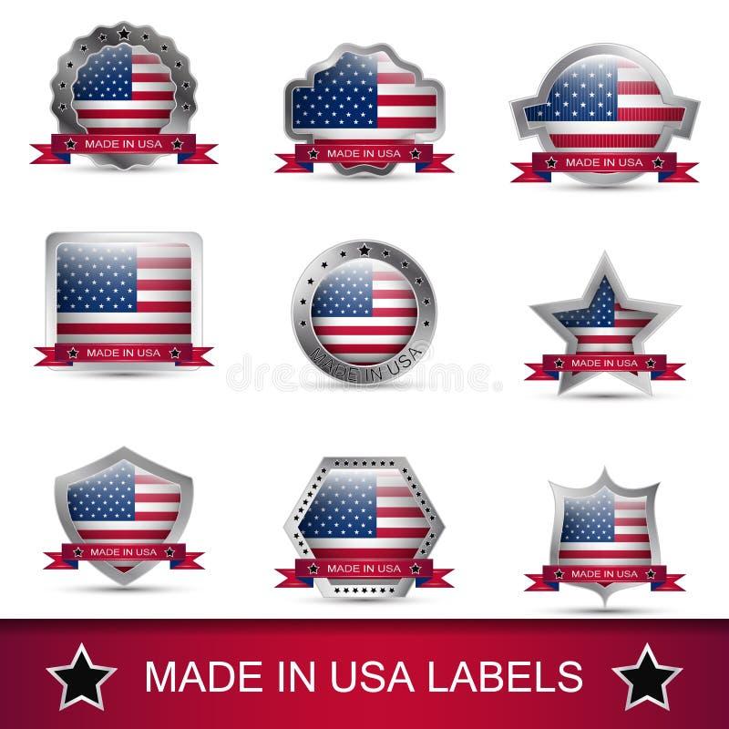 Insieme del fatto di nelle etichette o nei distintivi di U.S.A. Icone di vettore illustrazione di stock
