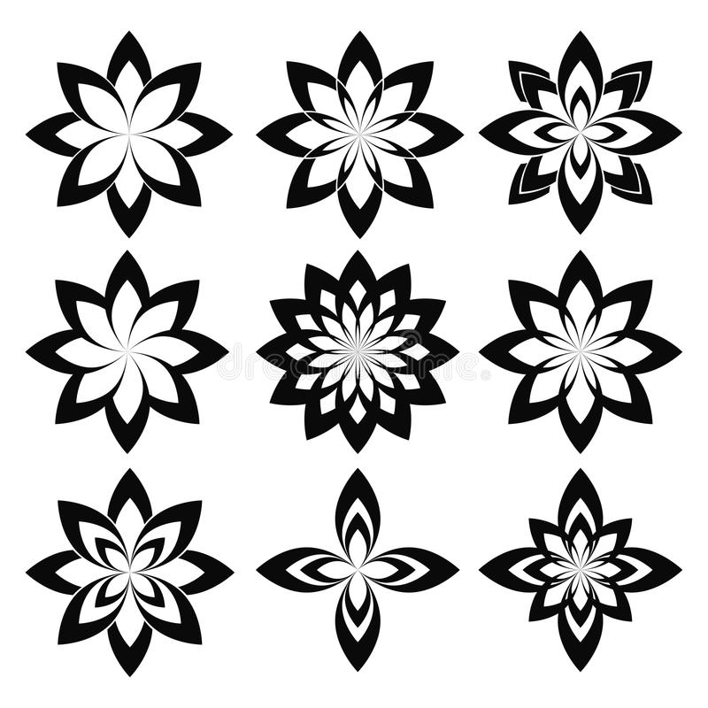 Insieme del fiore Fiore geometrico stilizzato della molla di vettore sopra illustrazione di stock
