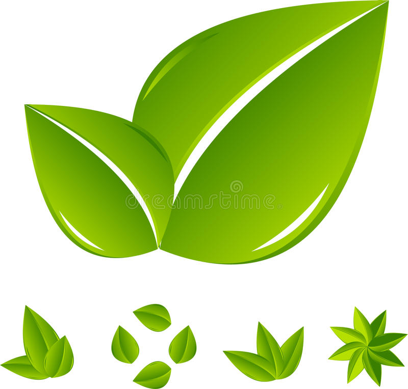 Insieme del foglio verde astratto illustrazione vettoriale