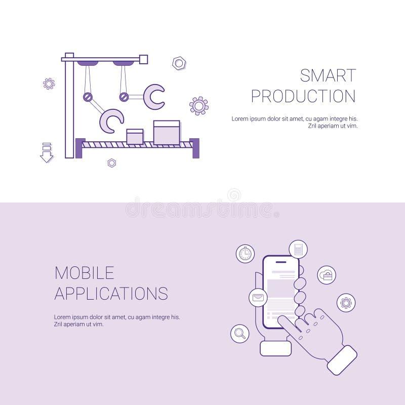 Insieme del fondo astuto del modello di concetto di affari delle insegne di applicazione del cellulare e di produzione con lo spa illustrazione vettoriale