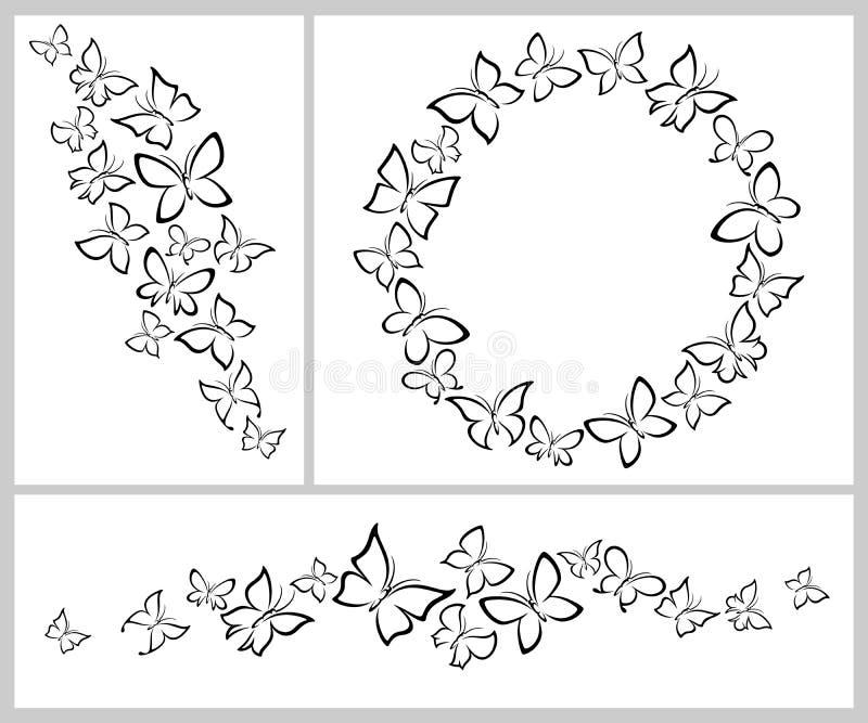 Insieme del fondo delle farfalle Icone della farfalla della raccolta Vettore illustrazione vettoriale