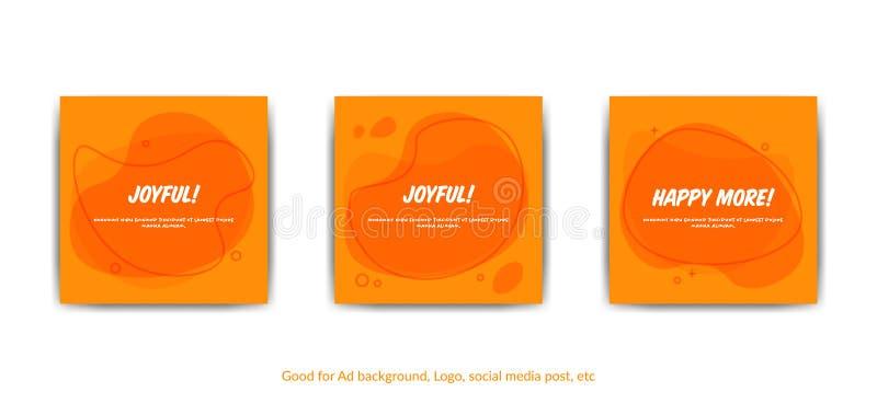 Insieme del fondo liquido arancio piano della spruzzata nello stile comico di Memphis, modello pronto per usare per le coperture, illustrazione di stock