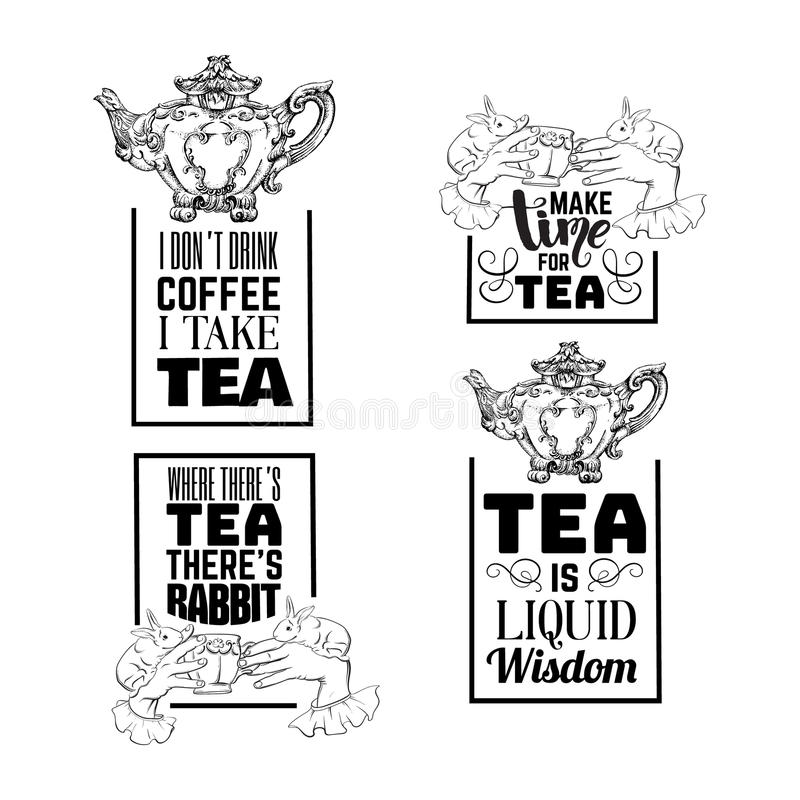 Insieme del fondo tipografico di citazione circa tè illustrazione di stock