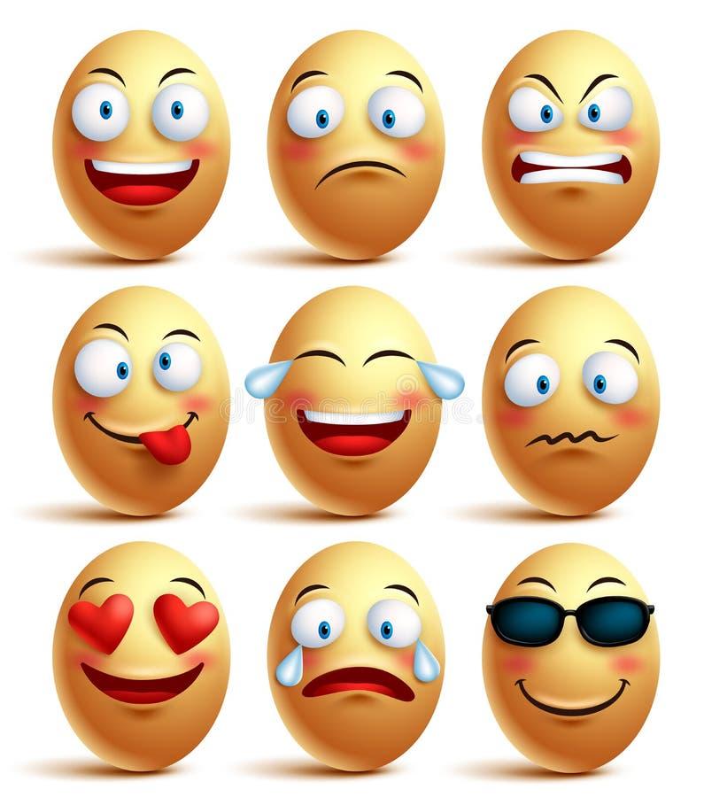 Insieme del fronte dell'uovo di vettore degli emoticon con le emozioni e le espressioni facciali illustrazione vettoriale