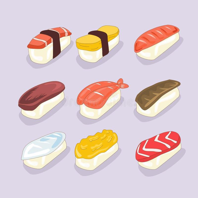 Insieme del fumetto dei sushi illustrazione di stock