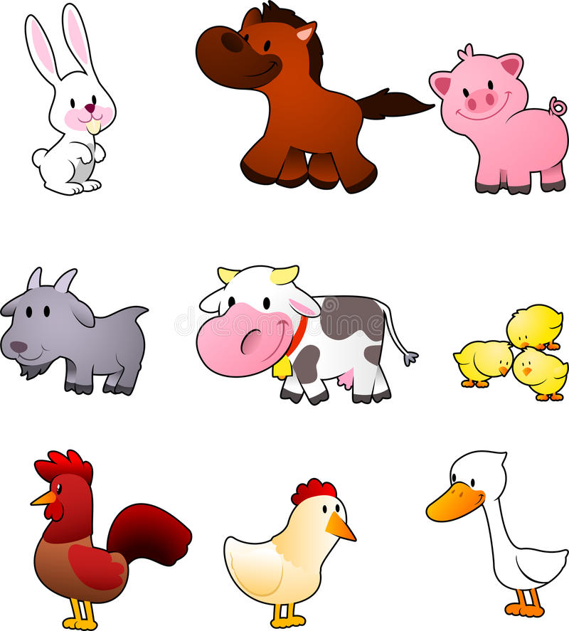 Insieme del fumetto dell'animale da allevamento illustrazione di stock