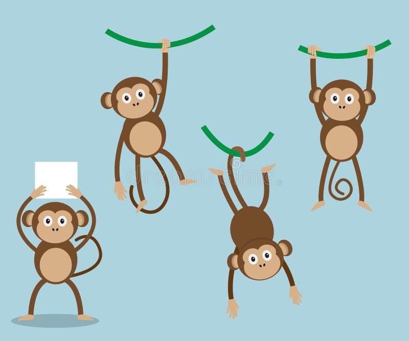 Insieme del fumetto della scimmia illustrazione vettoriale