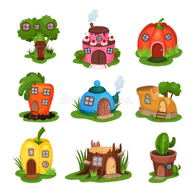 Insieme del fumetto delle case di fiaba in varie forme Casa nella forma di broccoli, dolce, zucca, carota, teiera, scarpa illustrazione di stock