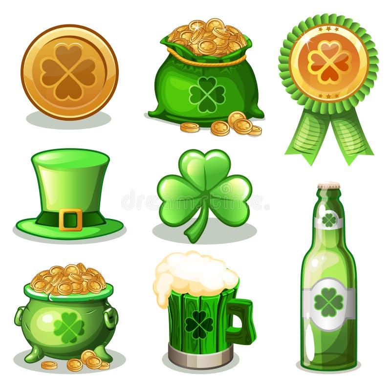 Insieme del fumetto delle icone di verde della st Patrick Day, illustrazione vettoriale