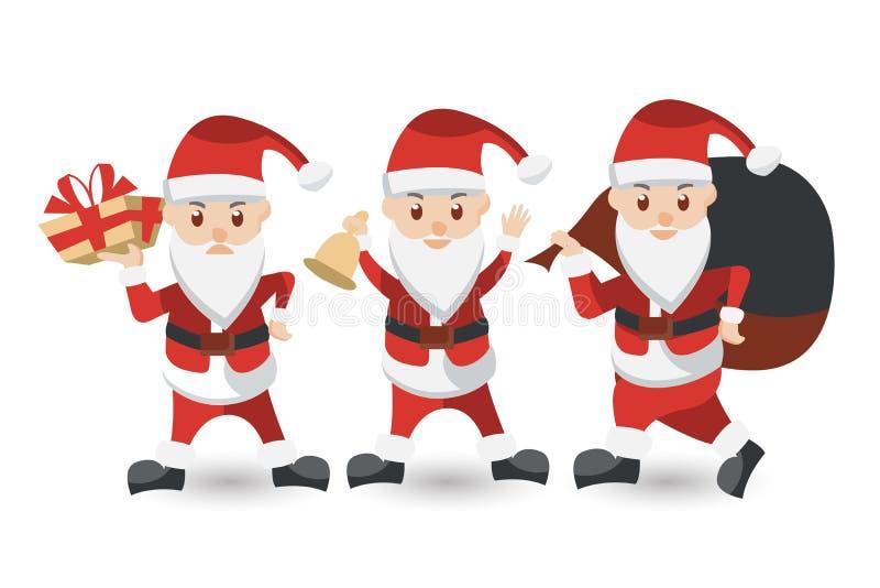 Insieme del fumetto Santa Claus Accumulazione di natale immagini stock libere da diritti