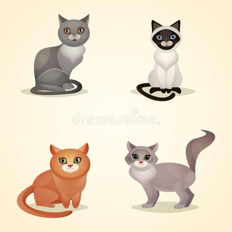 Insieme del gatto illustrazione vettoriale