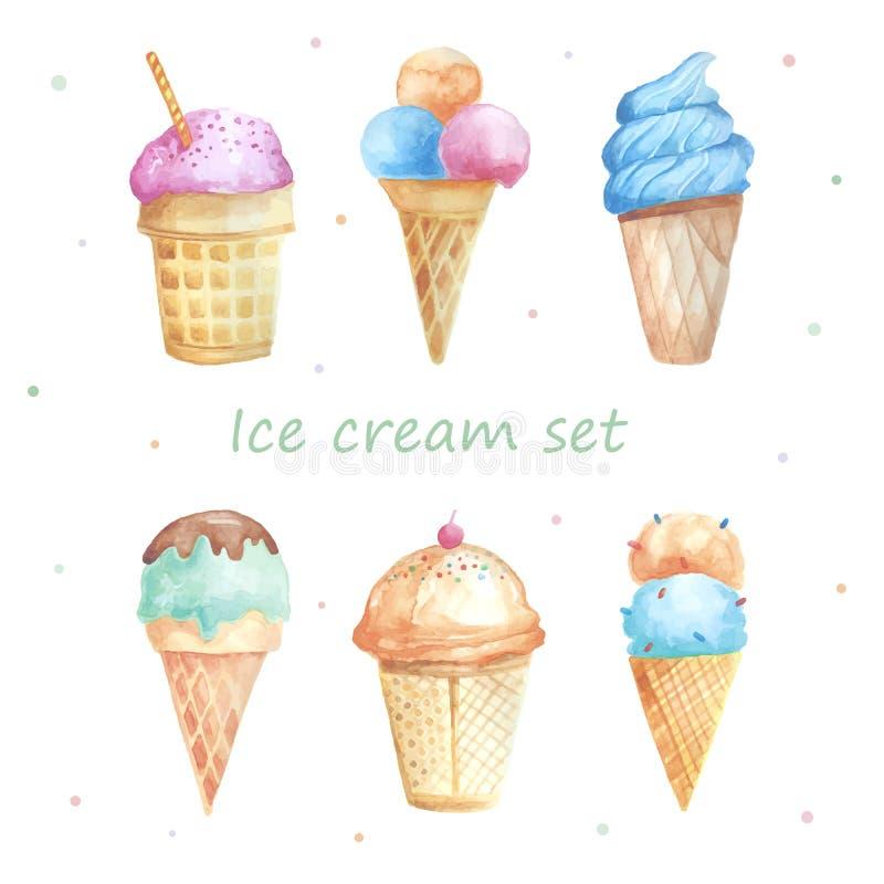 Insieme del gelato dell'acquerello illustrazione di stock