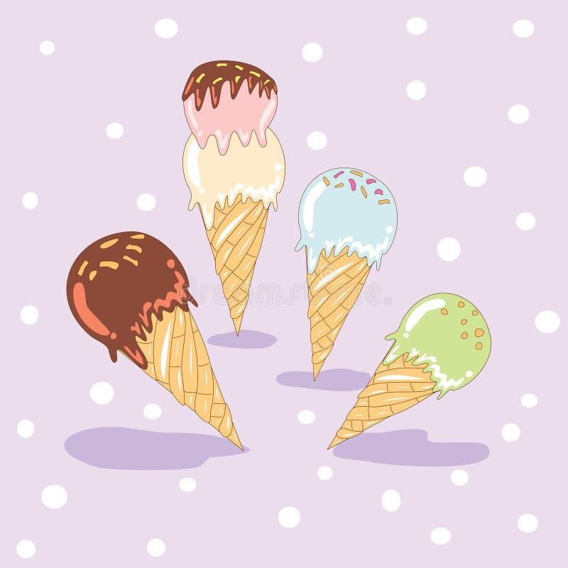 Insieme del gelato dolce illustrazione di stock