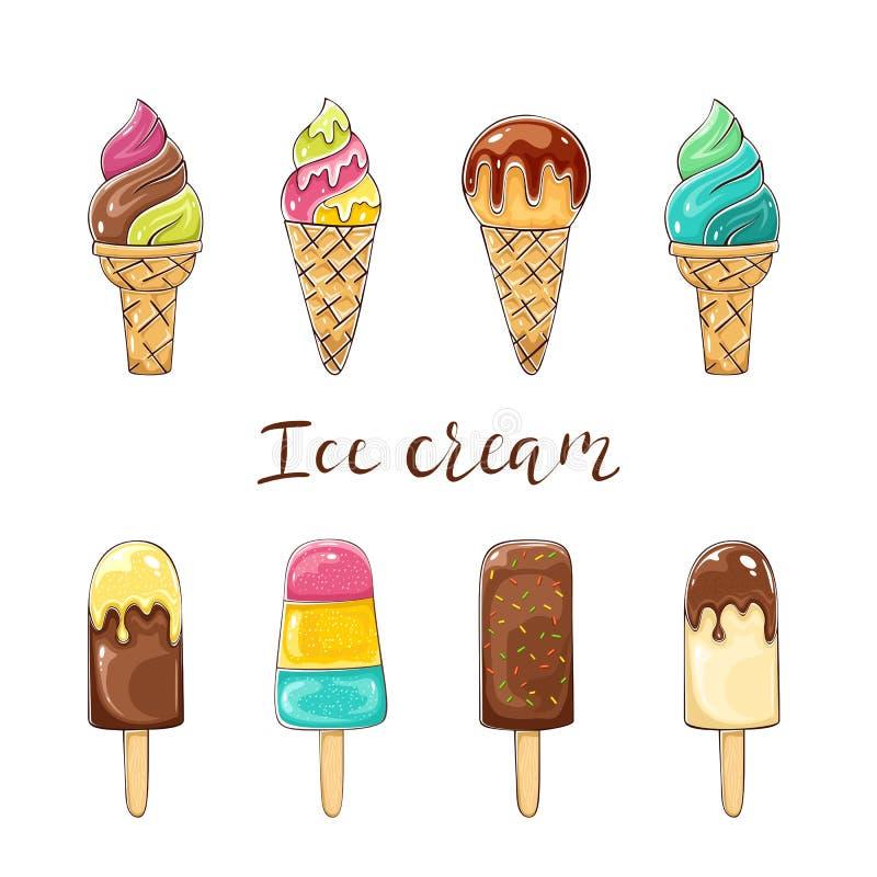 Insieme del gelato variopinto illustrazione di stock
