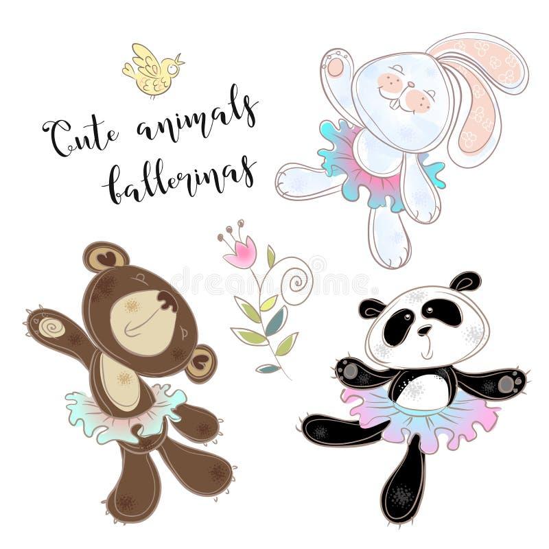 Insieme del giocattolo del carattere Coniglietto e panda dell'orso in tutu di balletto Vettore illustrazione di stock