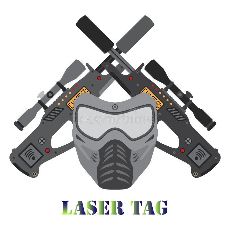 Insieme del gioco dell'etichetta del laser, casco, pistole nello stile piano immagini stock libere da diritti