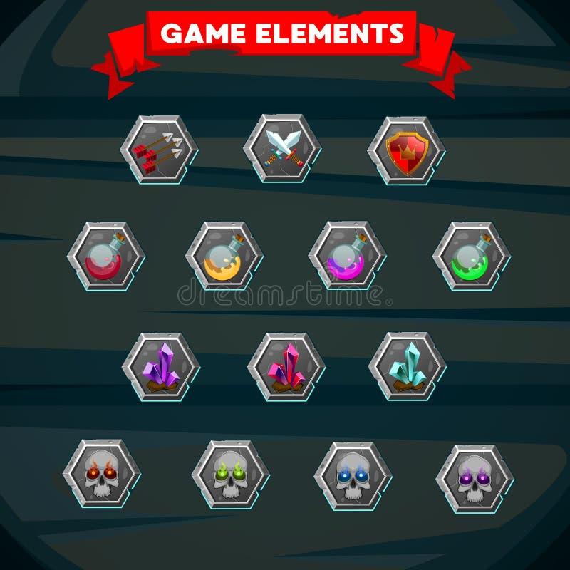 Insieme del gioco variopinto che progetta elemento illustrazione vettoriale
