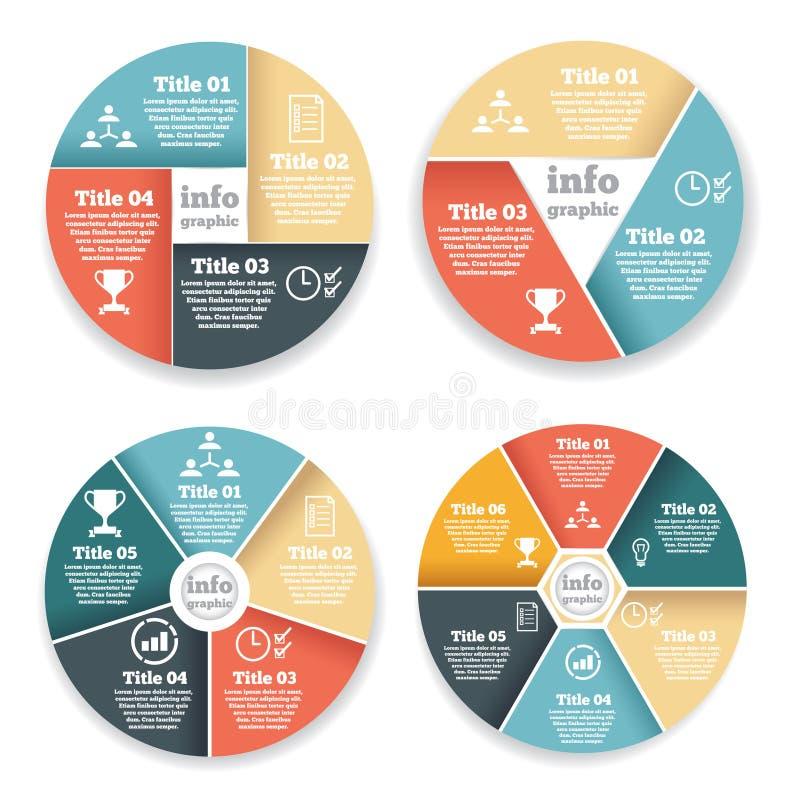 Insieme del grafico di informazioni del circolo, diagramma illustrazione di stock