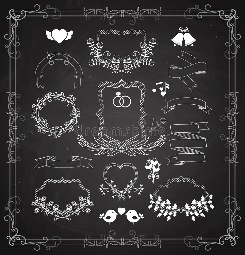 Insieme del grafico di nozze con le corone ed i nastri illustrazione di stock