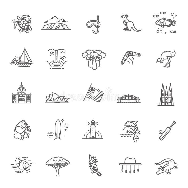 Insieme del grafico di vettore Cultura australiana, animali, tradizioni Segno, elemento, emblema, simbolo illustrazione di stock