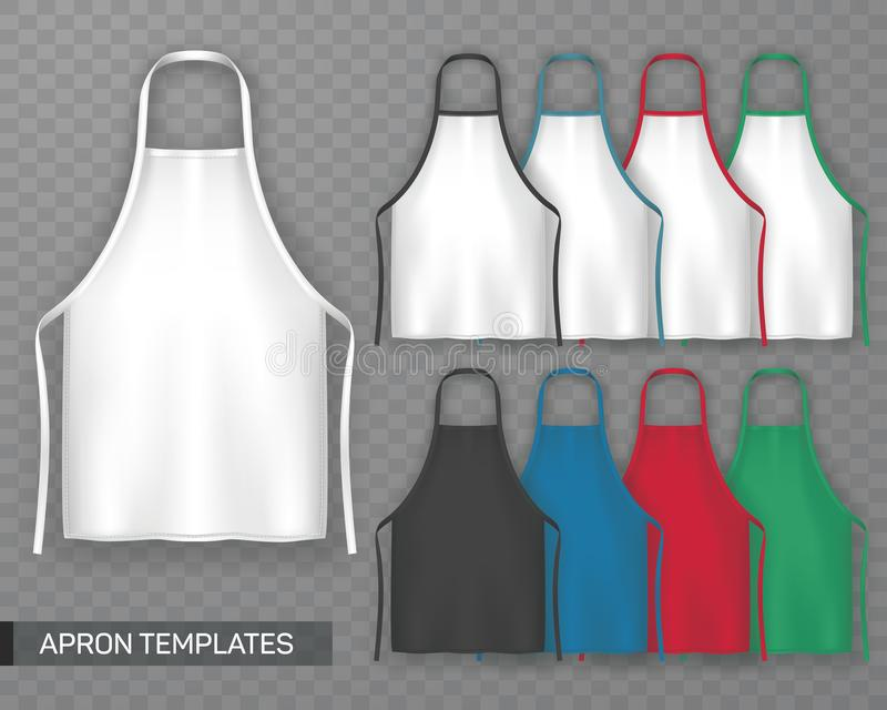 Insieme del grembiule di cottura isolato o dell'uniforme funzionante illustrazione di stock