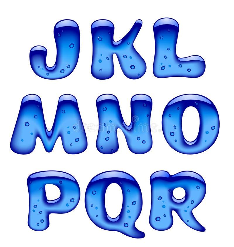 Insieme del isolat blu delle lettere maiuscole di alfabeto del gel, del ghiaccio e del caramello illustrazione vettoriale