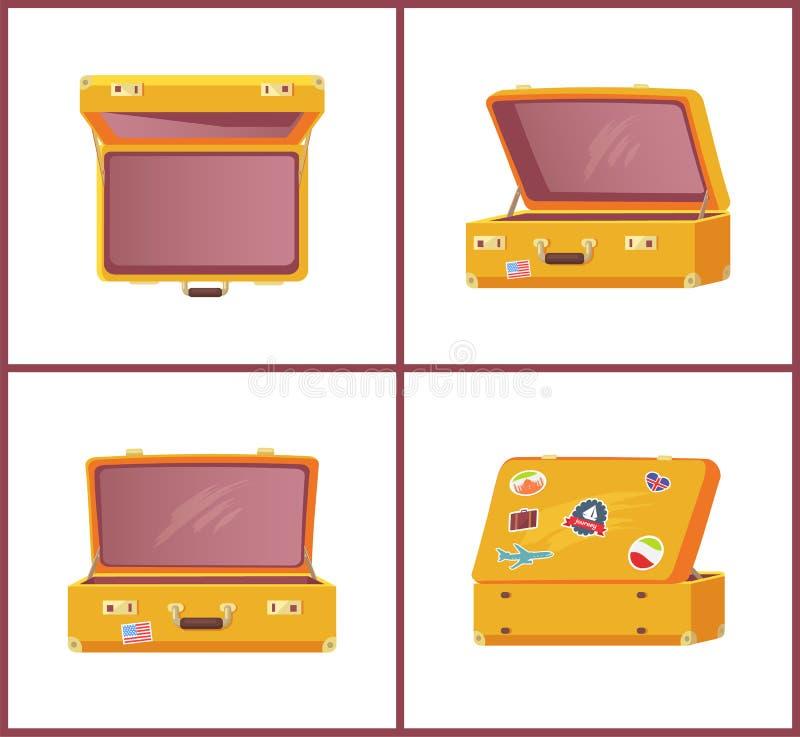 Insieme del lato superiore Front View, memoria delle retro valigie royalty illustrazione gratis