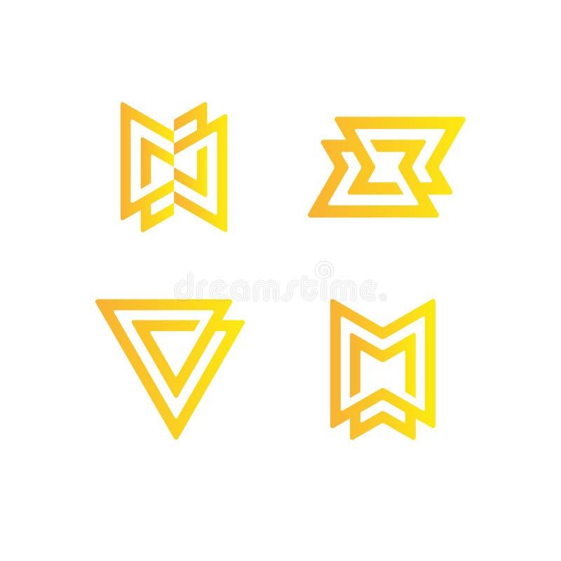 Insieme del logo astratto semplice illustrazione di stock