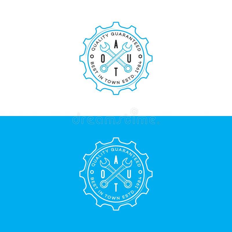 Insieme del logo automatico con la linea stile della chiave e dell'ingranaggio isolato su fondo per l'officina riparazioni automa illustrazione di stock