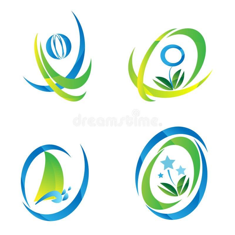 Insieme del logo blu & verde dell'icona royalty illustrazione gratis
