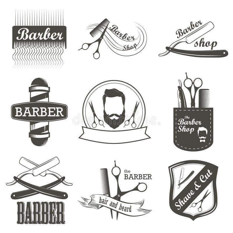 Insieme del logo d'annata del negozio di barbiere, etichette, distintivi fotografie stock libere da diritti
