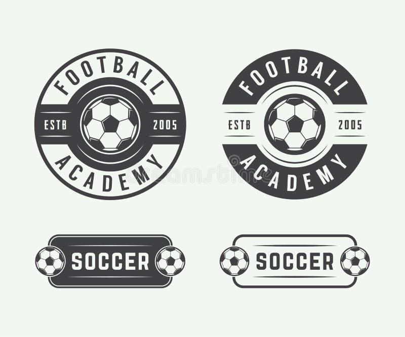 Insieme del logo d'annata di calcio o di calcio, emblema, distintivo illustrazione di stock