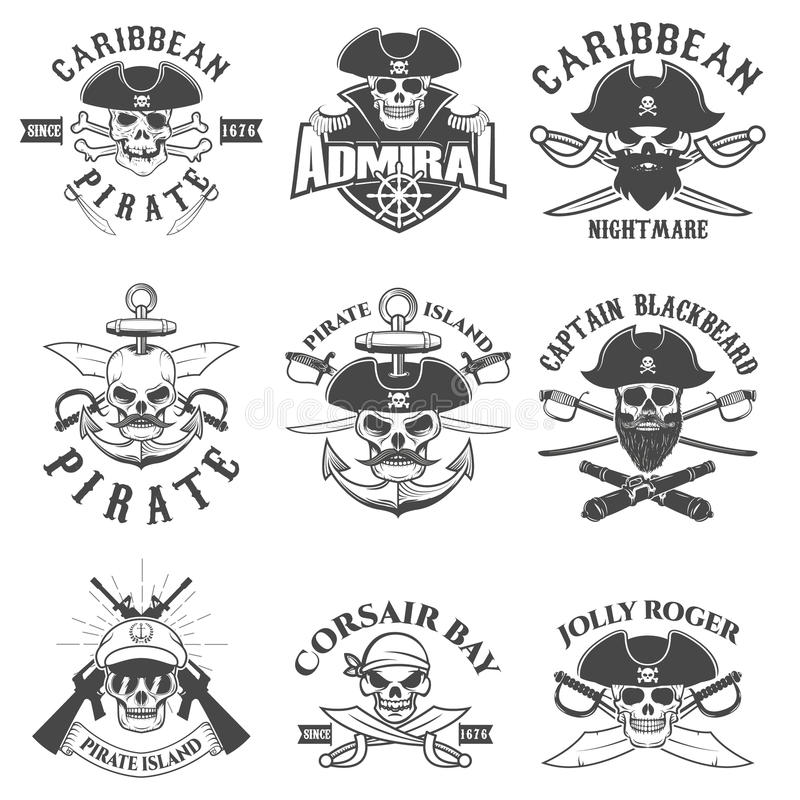 Insieme del logo dei pirati, delle etichette, degli emblemi e degli elementi di progettazione Corsai illustrazione vettoriale