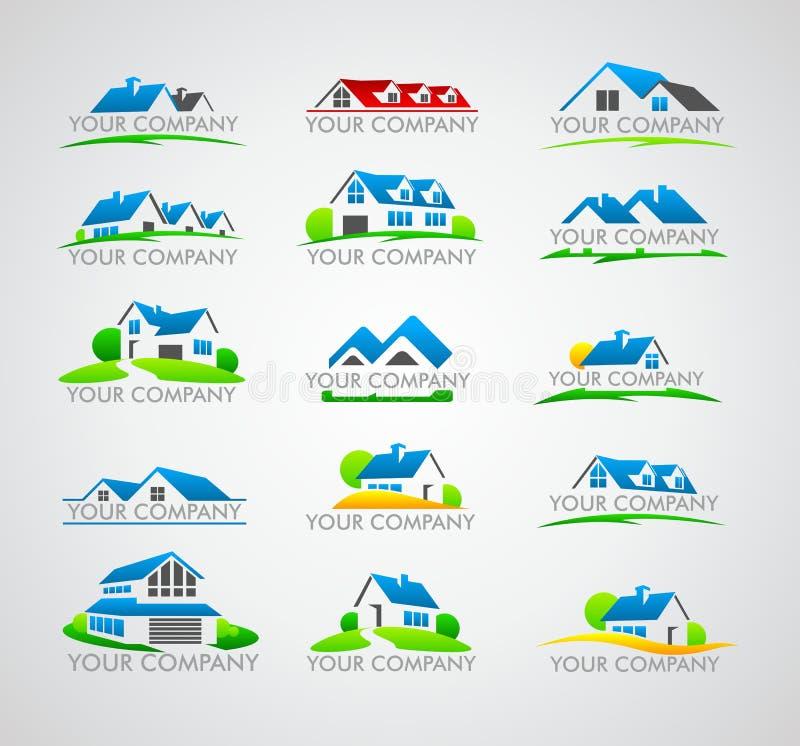 Insieme del logo della casa illustrazione vettoriale