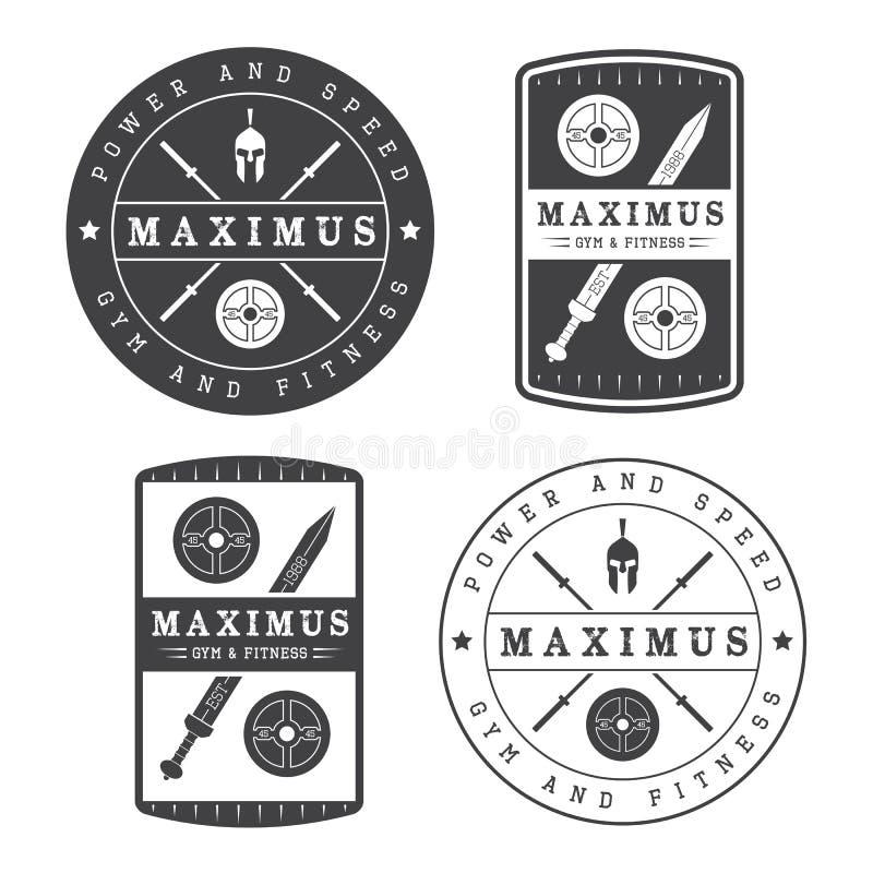 Insieme del logo della palestra nello stile d'annata royalty illustrazione gratis