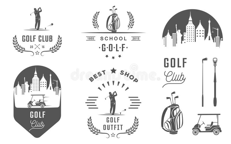 Insieme del logo, delle etichette e degli emblemi di golf illustrazione vettoriale