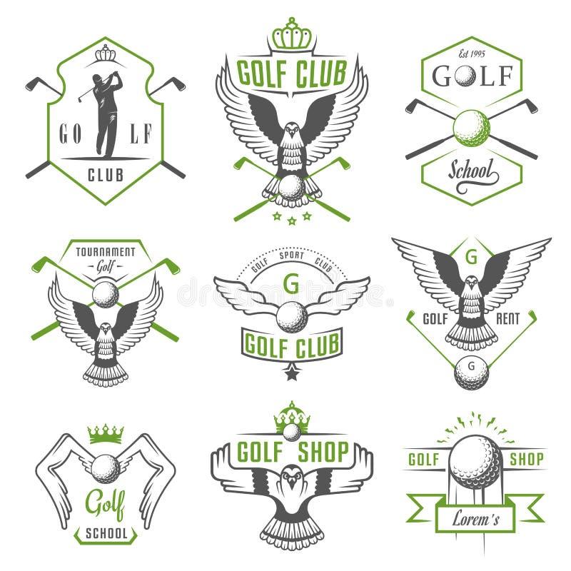 Insieme del logo, delle etichette e degli emblemi di golf illustrazione di stock