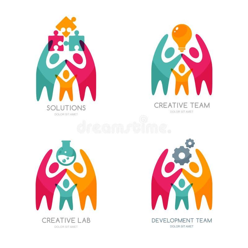 Insieme del logo, delle icone o dell'emblema umane di vettore illustrazione di stock