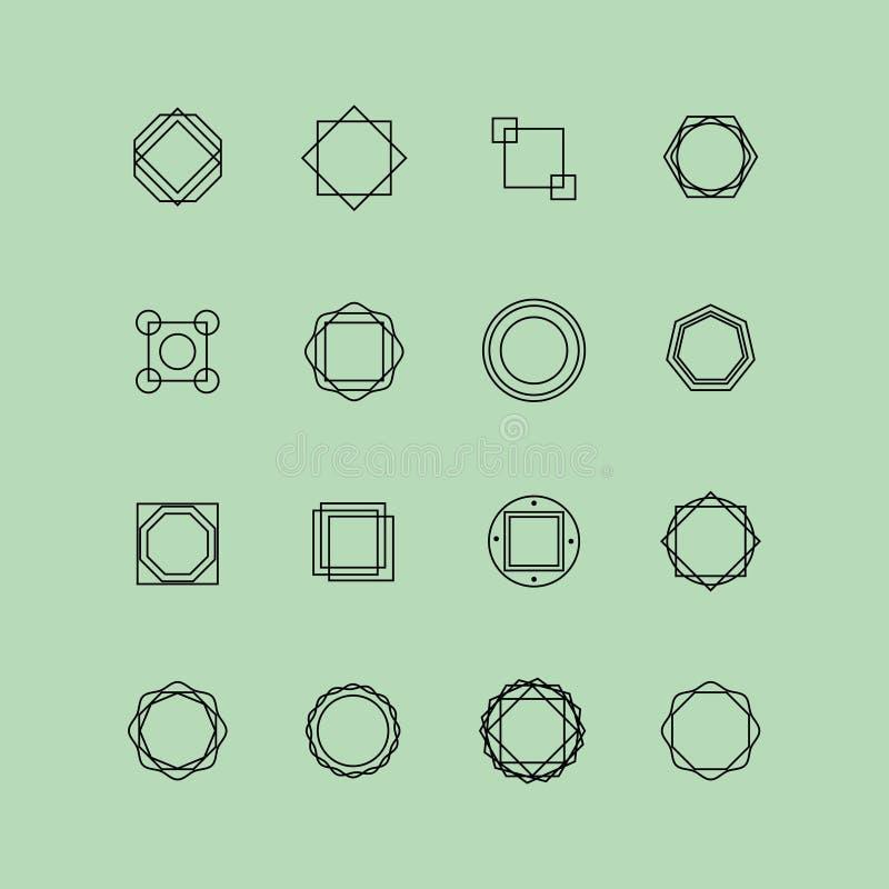 Insieme del logo geometrico astratto illustrazione vettoriale