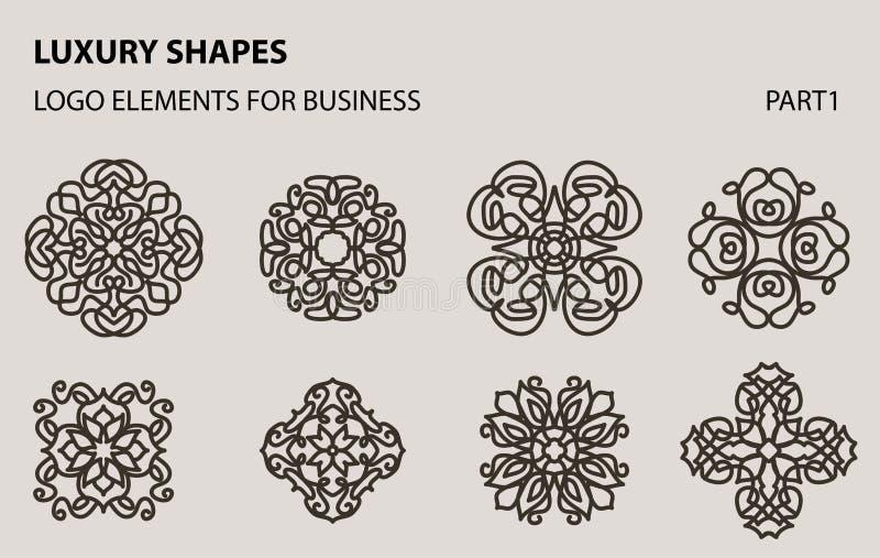 Insieme del logo geometrico minimo floreale universale illustrazione vettoriale