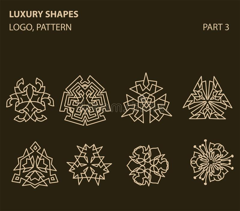Insieme del logo geometrico minimo floreale universale royalty illustrazione gratis