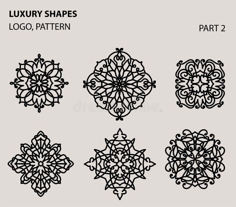 Insieme del logo geometrico minimo floreale universale illustrazione di stock