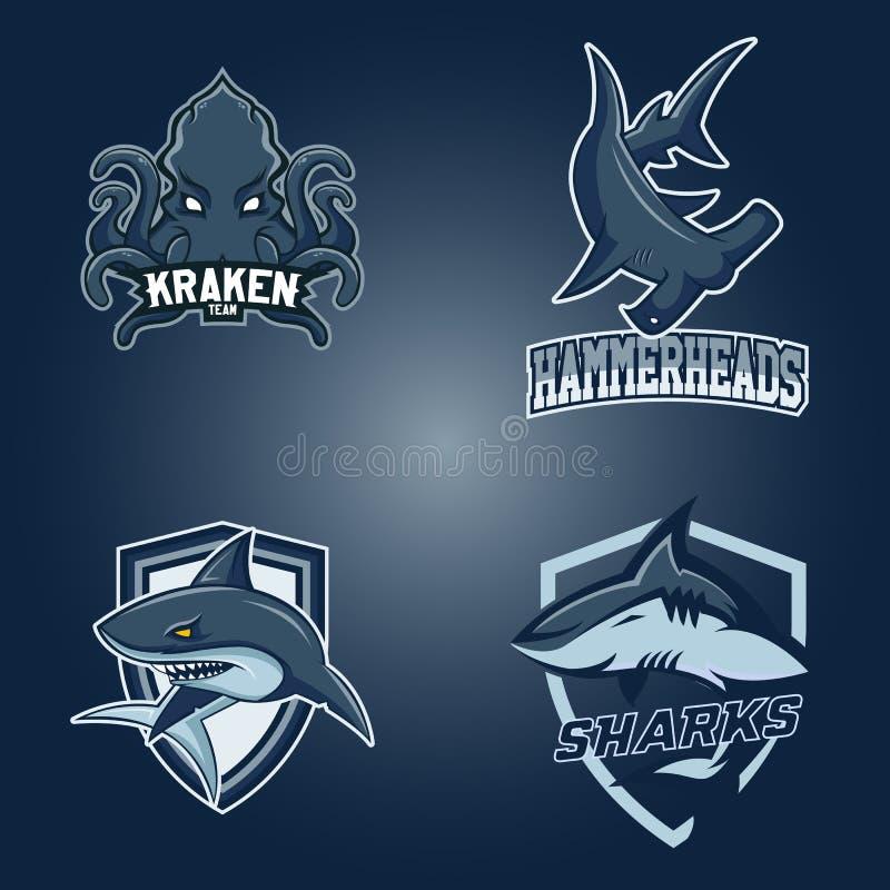Insieme del logo professionale moderno per lo sport di squadra Gli squali, teste di martello kraken il simbolo di vettore della m royalty illustrazione gratis