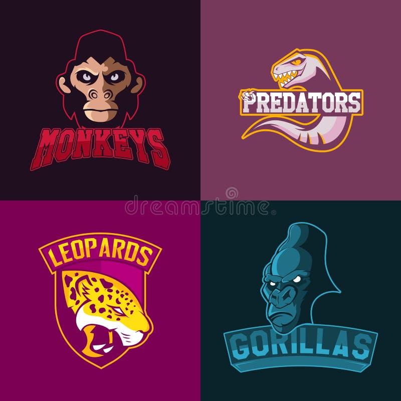 Insieme del logo professionale moderno per lo sport di squadra Monkeys il simbolo di vettore della mascotte delle gorille dei leo illustrazione vettoriale
