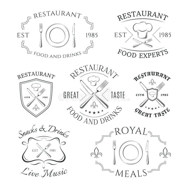 Insieme del logos araldico del ristorante, etichette e illustrazione vettoriale